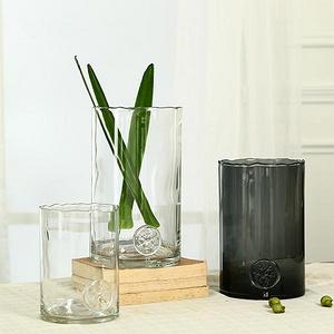 北欧国度 徽章直筒广口玻璃花瓶