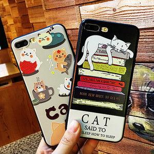 日韩浮雕猫咪iPhone手机壳