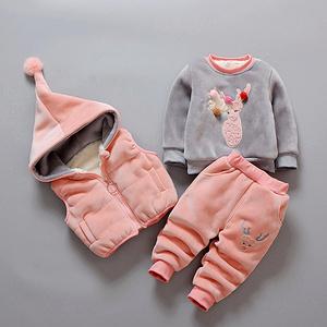 蜜士尼 女童套装加厚卫衣三件套